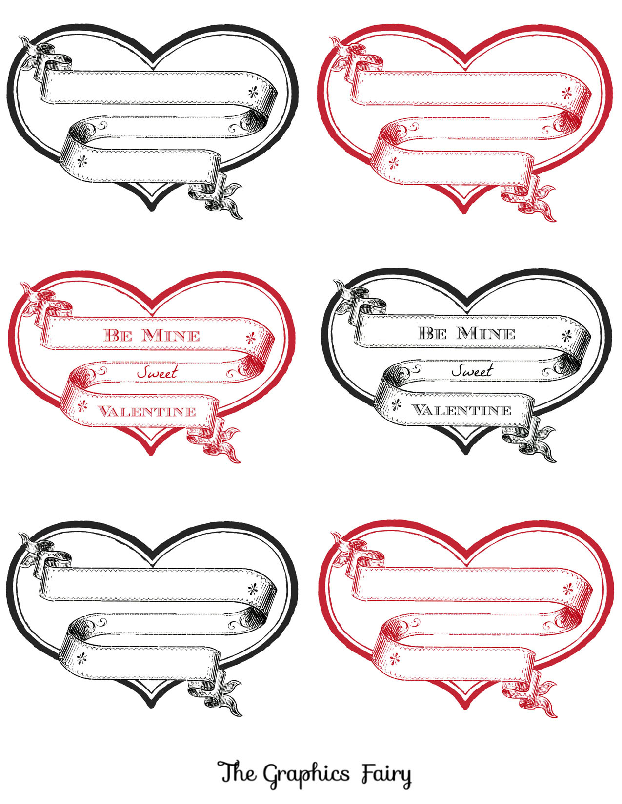 Free Printable Heart Labels - The Graphics Fairy - Free Printable Labels