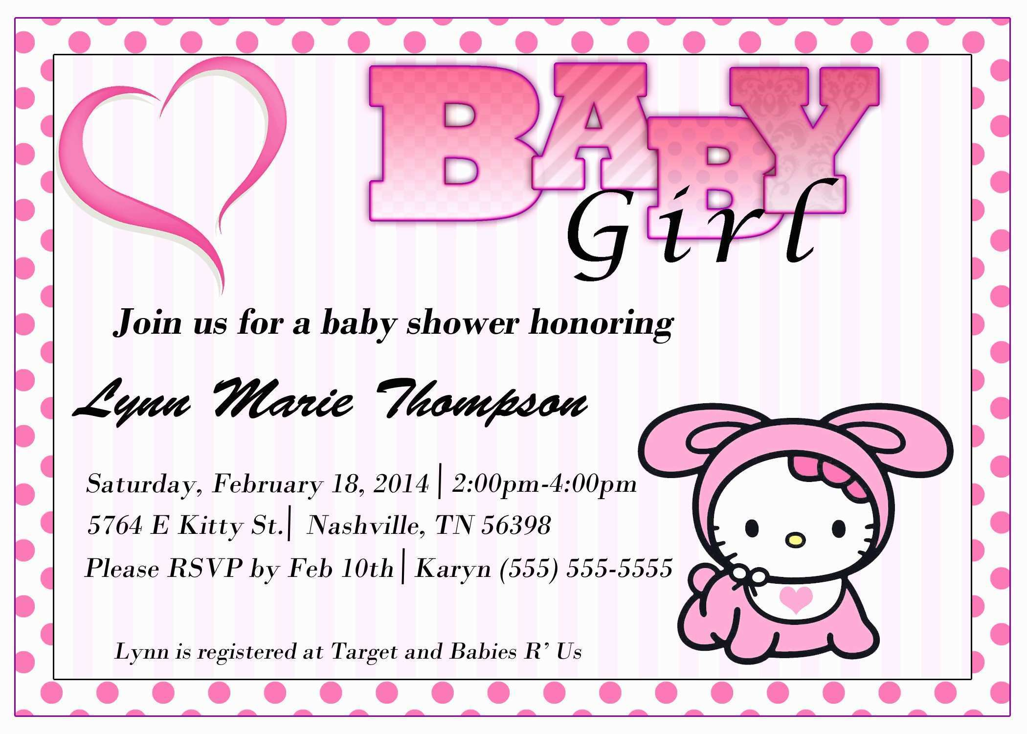 Free Printable Hello Kitty Baby Shower Invitations Pretty Hello - Free Printable Hello Kitty Baby Shower Invitations