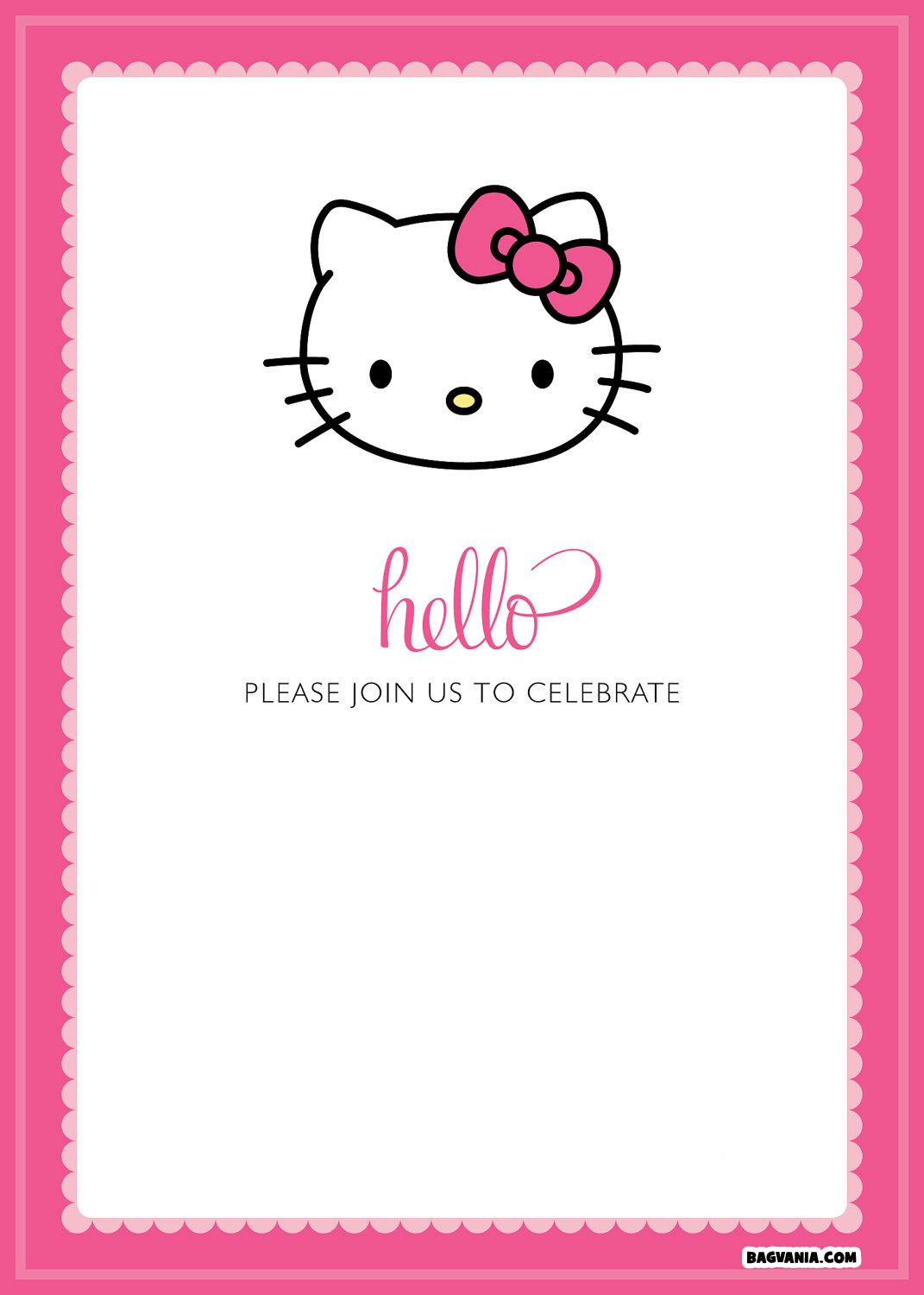 Free Printable Hello Kitty Birthday Invitations – Bagvania Free - Hello Kitty Free Printable Invitations For Birthday
