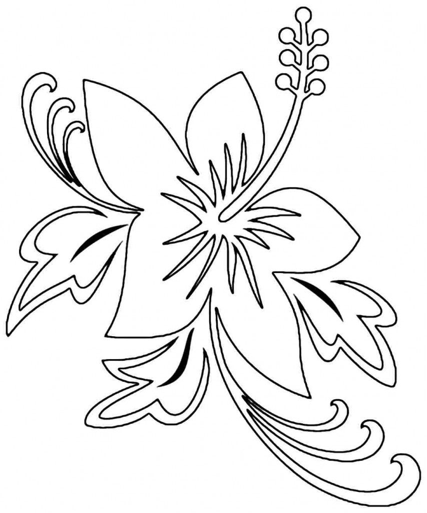 Free Printable Hibiscus Coloring Pages For Kids | Embroidery - Free Printable Hibiscus Coloring Pages