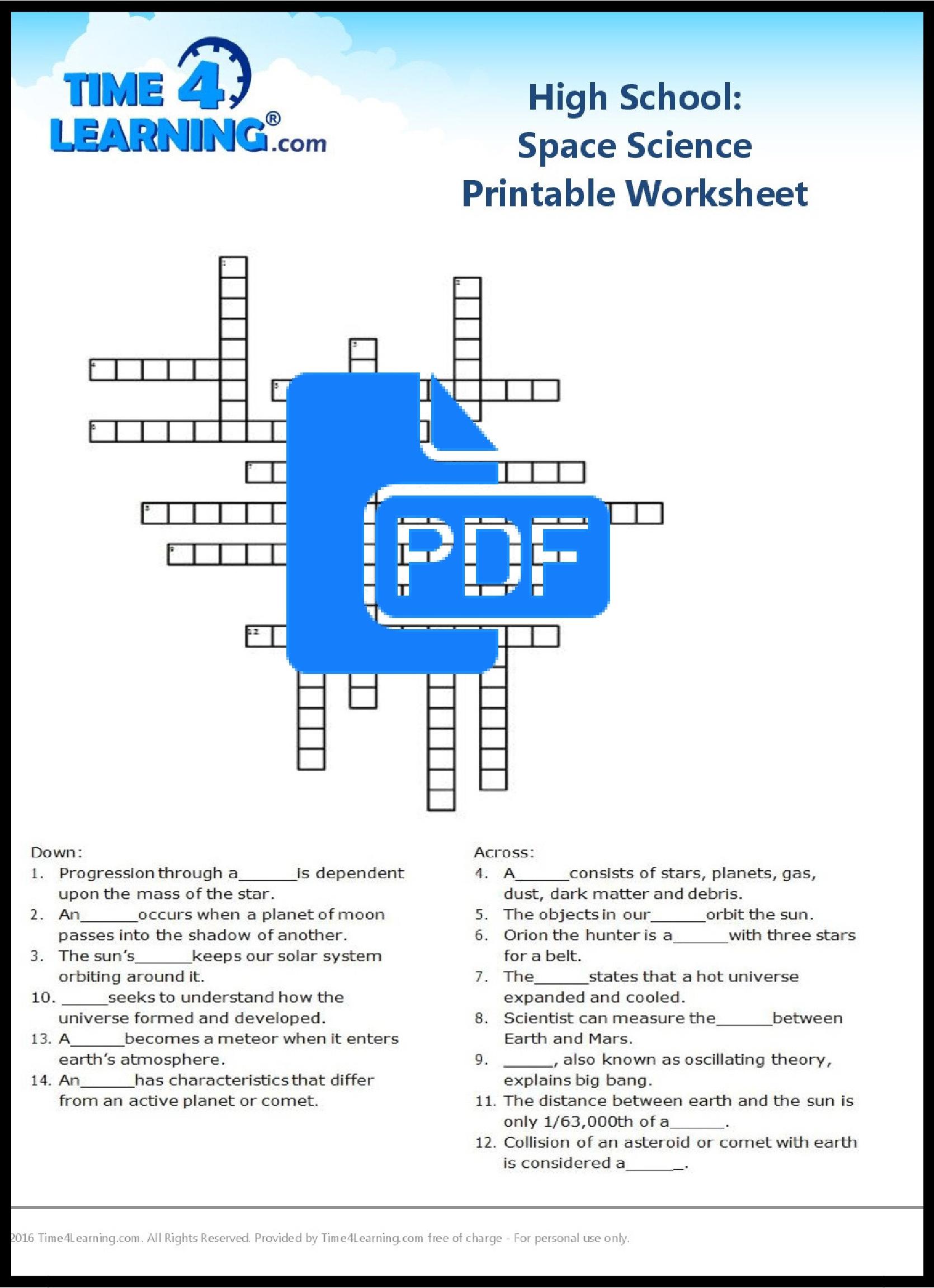 Free Printable: High School Space Science Worksheet | Time4Learning - Free Printable Biology Worksheets For High School