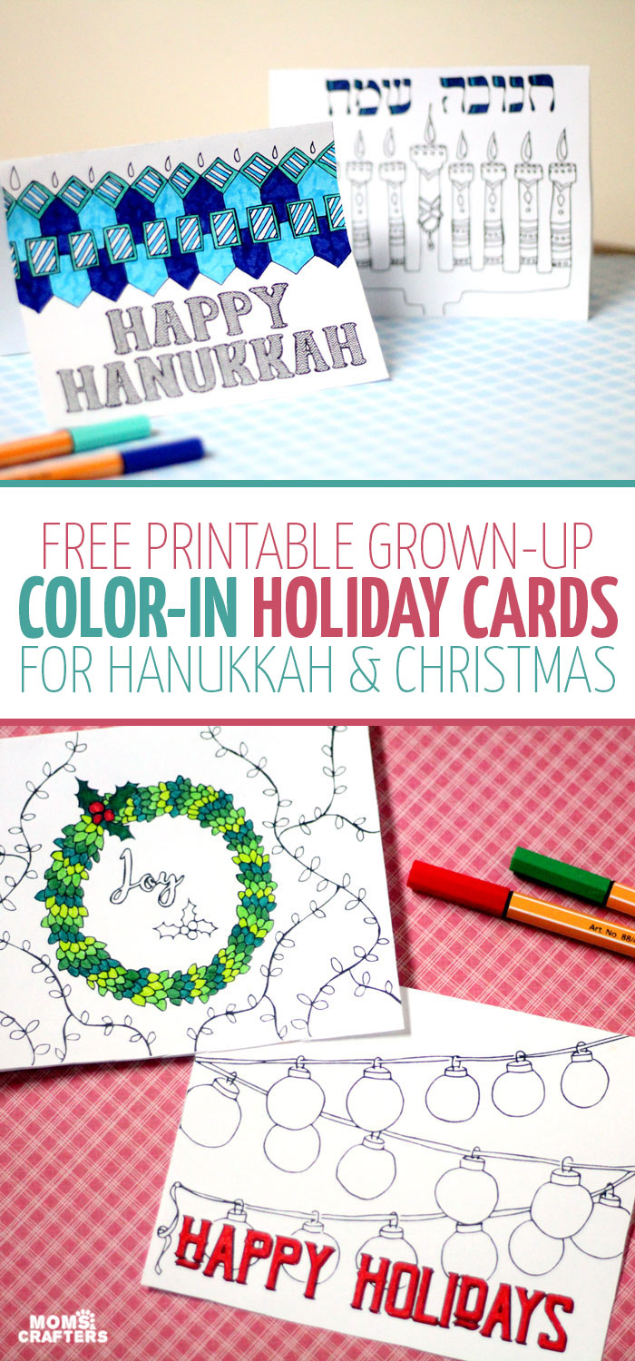 Free Printable Holiday Cards Adult Coloring Pages – Moms And Crafters - Free Printable Happy Holidays Greeting Cards