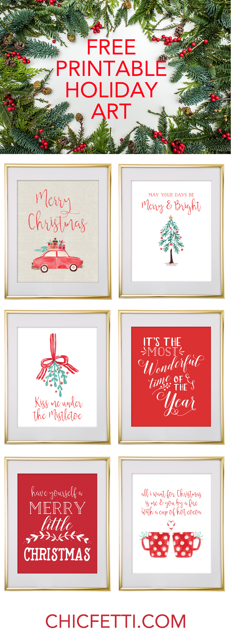 Free Printable Holiday Christmas Wall Art From @chicfetti | Free - Free Printable Christmas Decorations