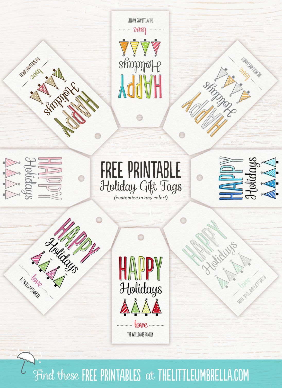 Free Printable Holiday Gift Tags At The Little Umbrella. Customize - Free Printable Customizable Gift Tags