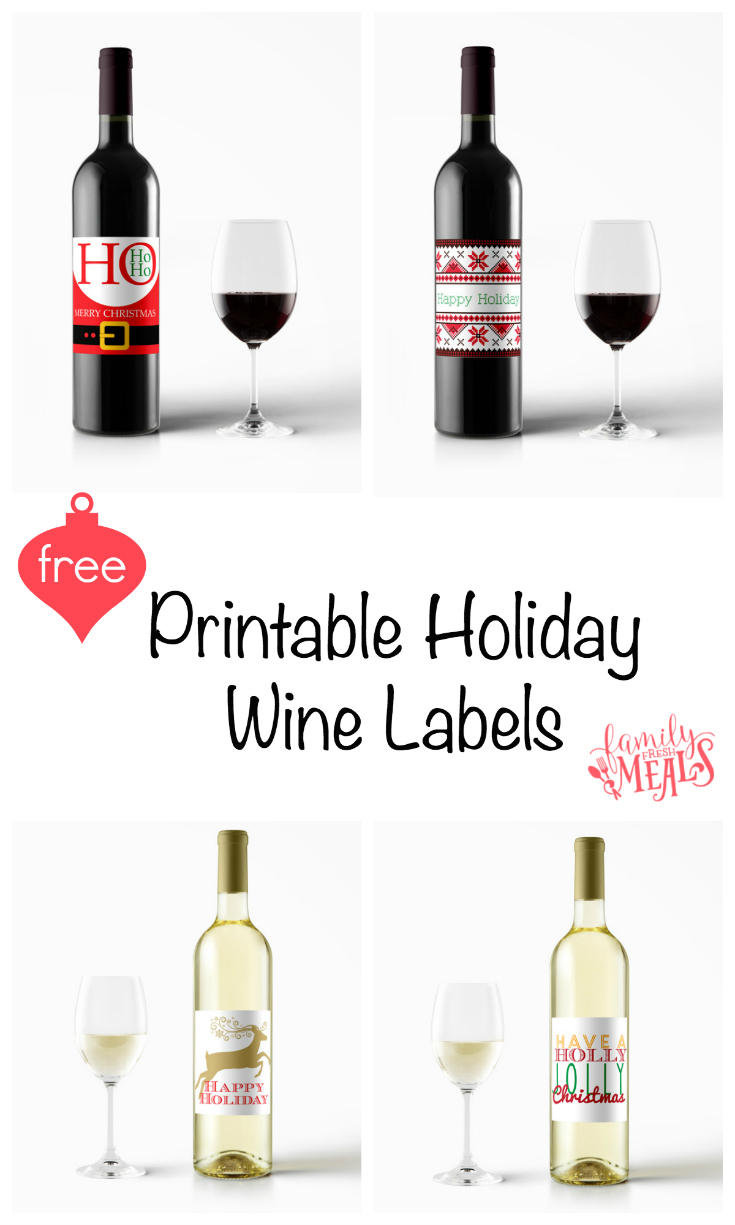 Free Printable Holiday Wine Labels - Family Fresh Meals - Free Printable Wine Labels