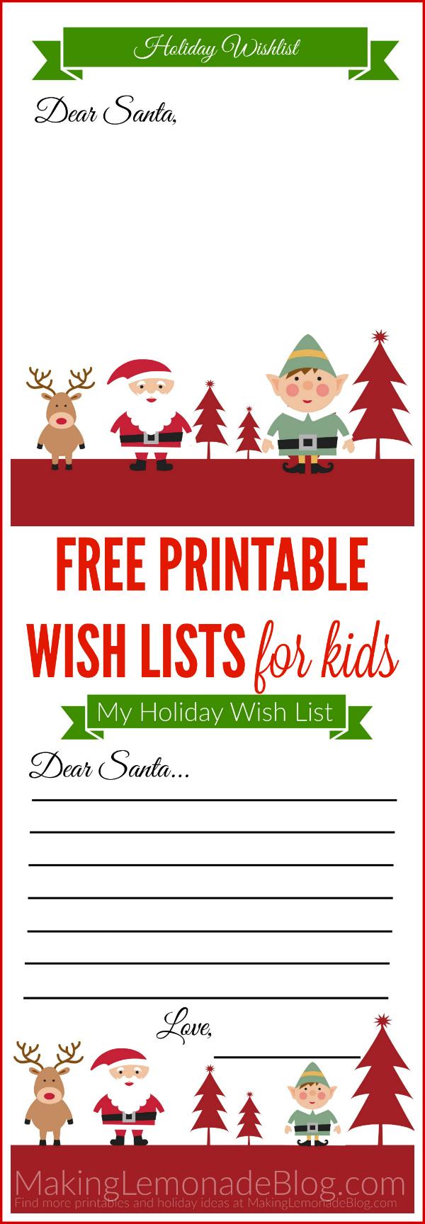 Free Printable Holiday Wish List For Kids - Free Printable Christmas List