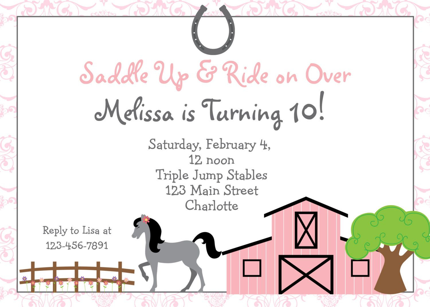Free Printable Horse Riding Party Invitations | Birthday Invitation - Free Printable Horse Themed Birthday Party Invitations