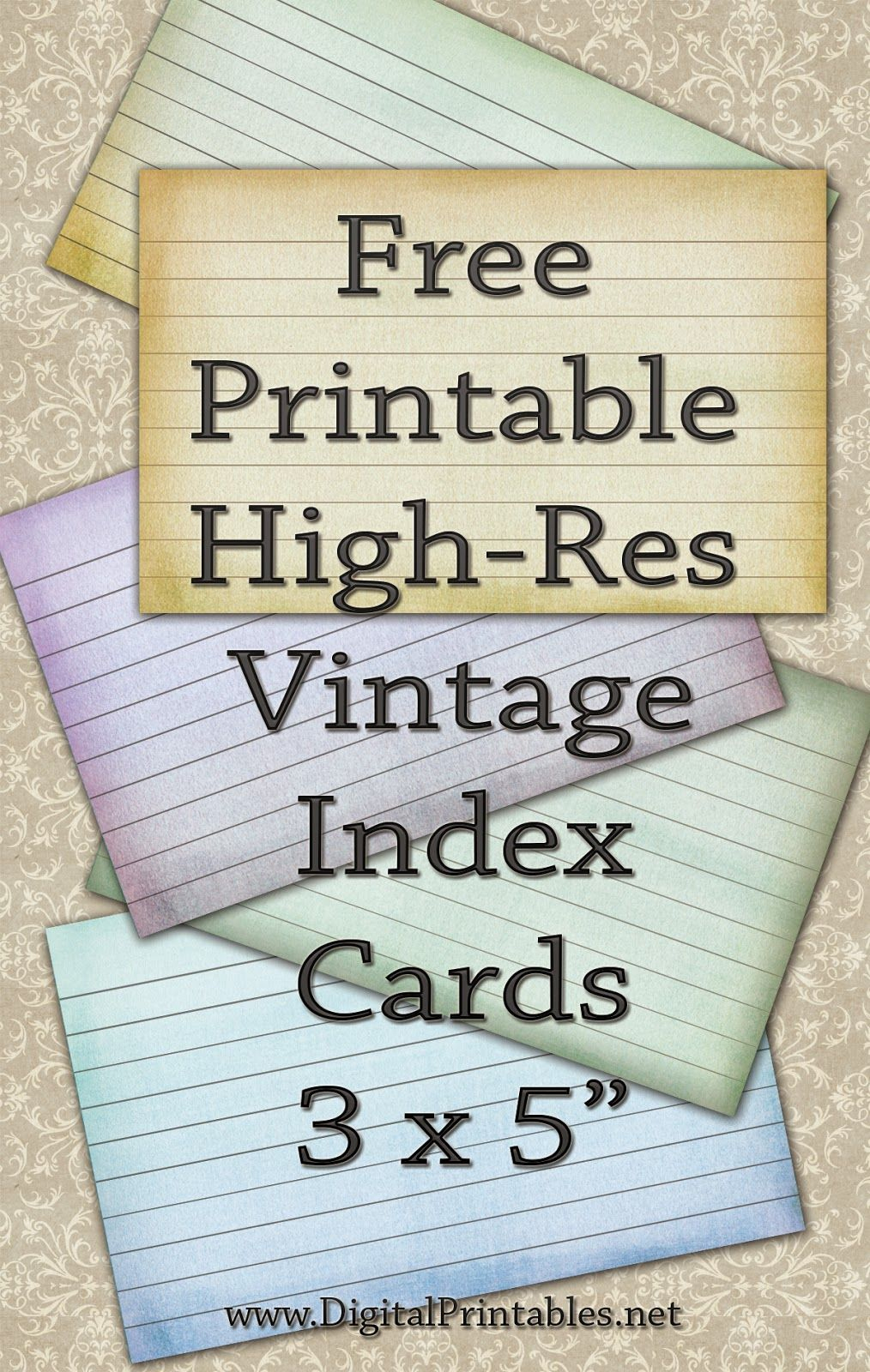 Free Printable Index Cards Vintage Look High Res | Freebies | Index - Free Printable Index Cards