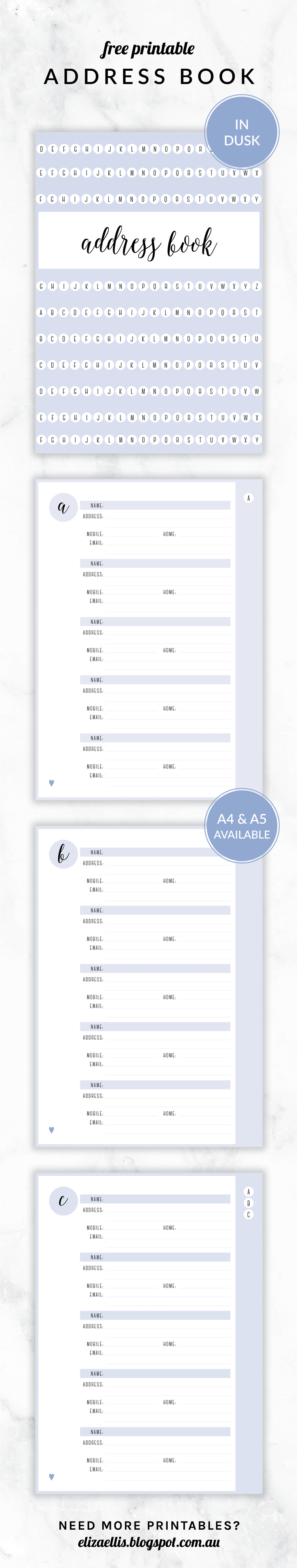 Free Printable Irma Address Book // Eliza Ellis. Available In 6 - Free Printable Address Book Pages