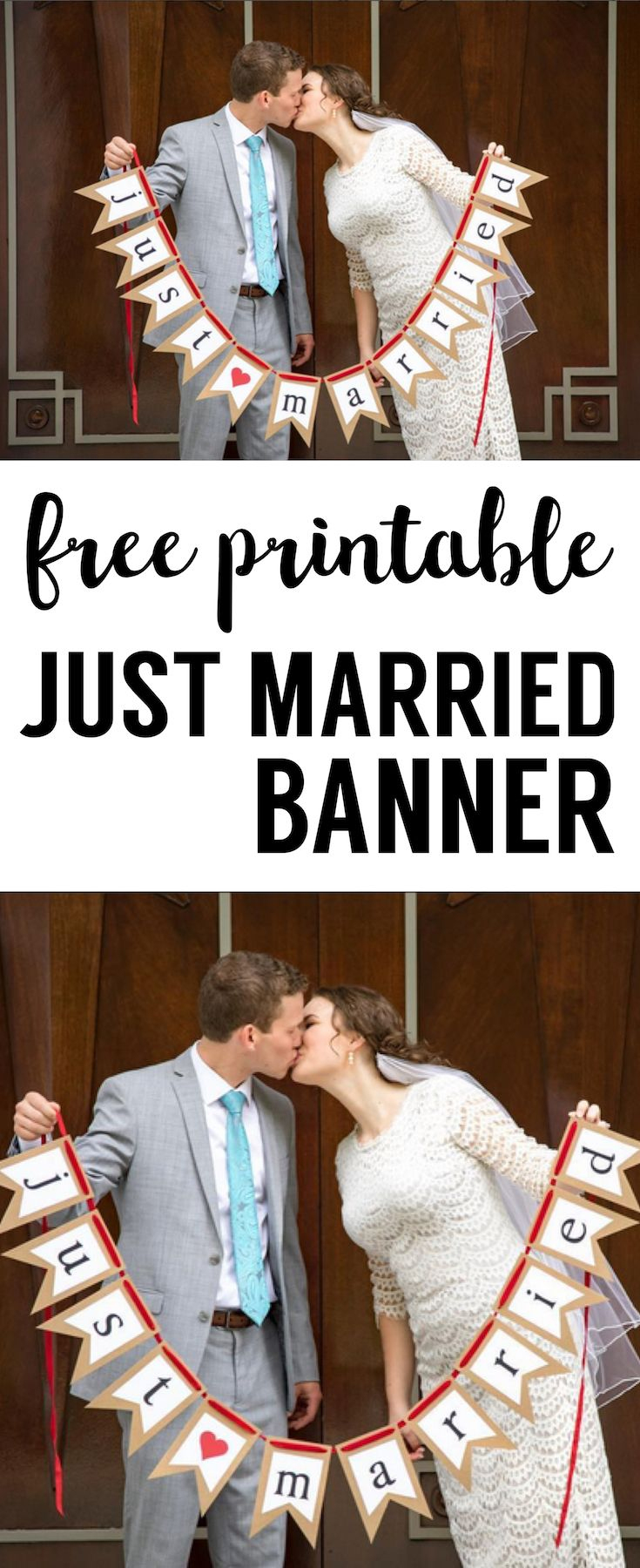 Free Printable Just Married Banner   Wedding Stuff   Casamiento - Just Married Free Printable