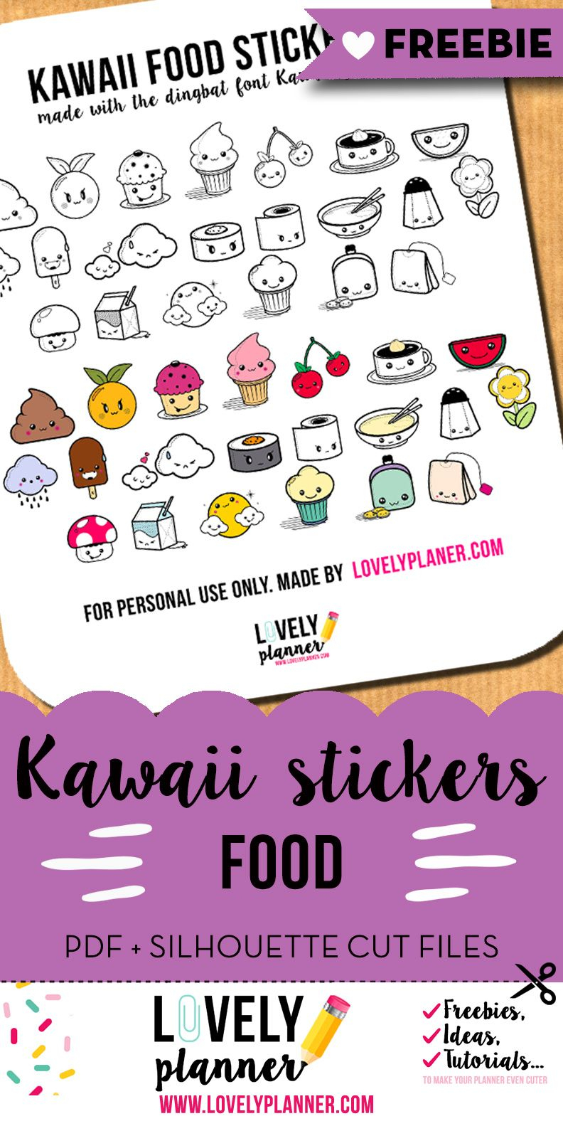 Free Printable Kawaii Food Planner Stickers From Lovelyplanner - Free Printable Kawaii Stickers