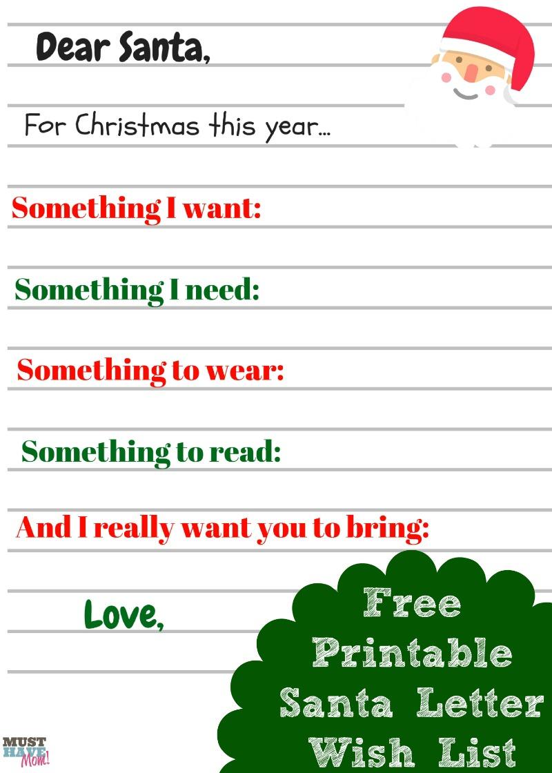 Free Printable Kids Christmas Wish List Santa Letter - Must Have Mom - Free Printable Christmas Wish List
