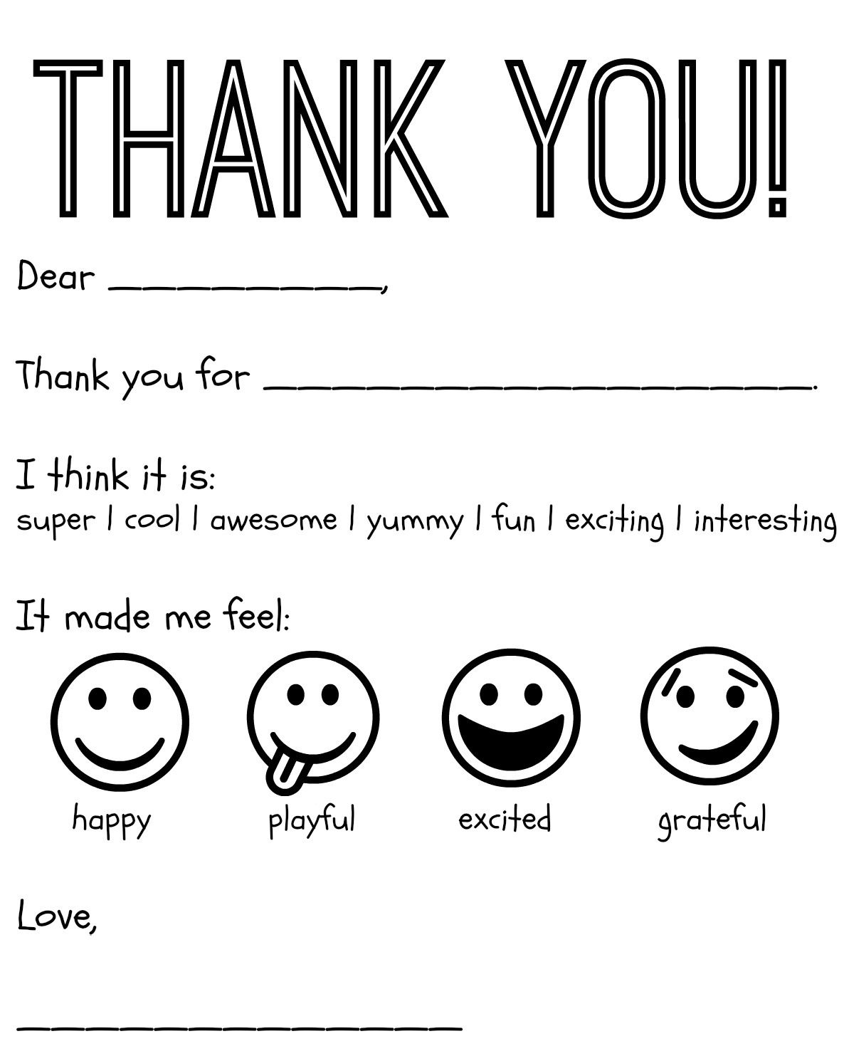 Free Printable Kids Thank You Cards To Color | Thank You Card - Free Printable Funny Thinking Of You Cards