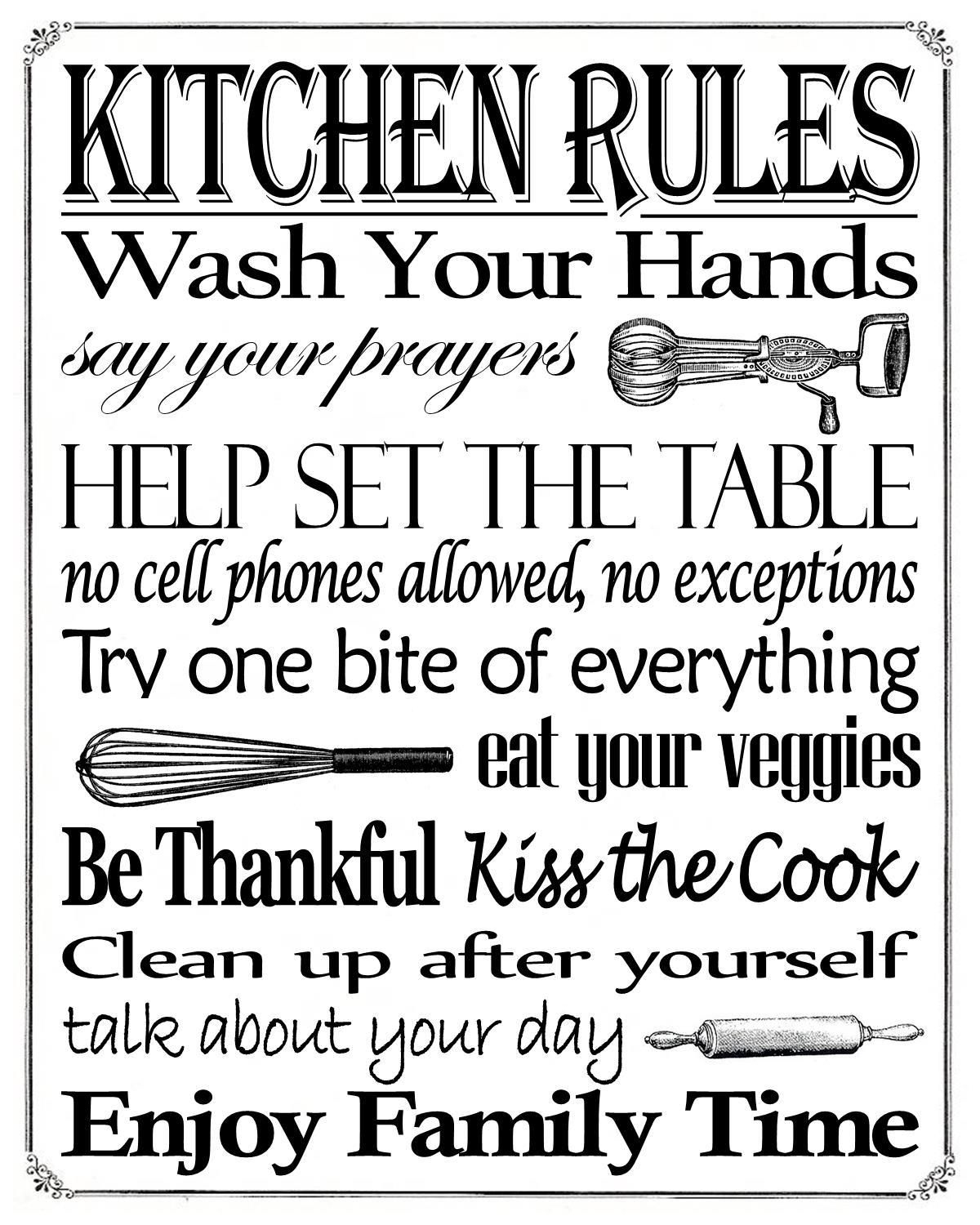 """Free Printable """"kitchen Rules"""" 8"""" X 10"""" Sign   Misc In 2019 - Free Wash Your Hands Signs Printable"""