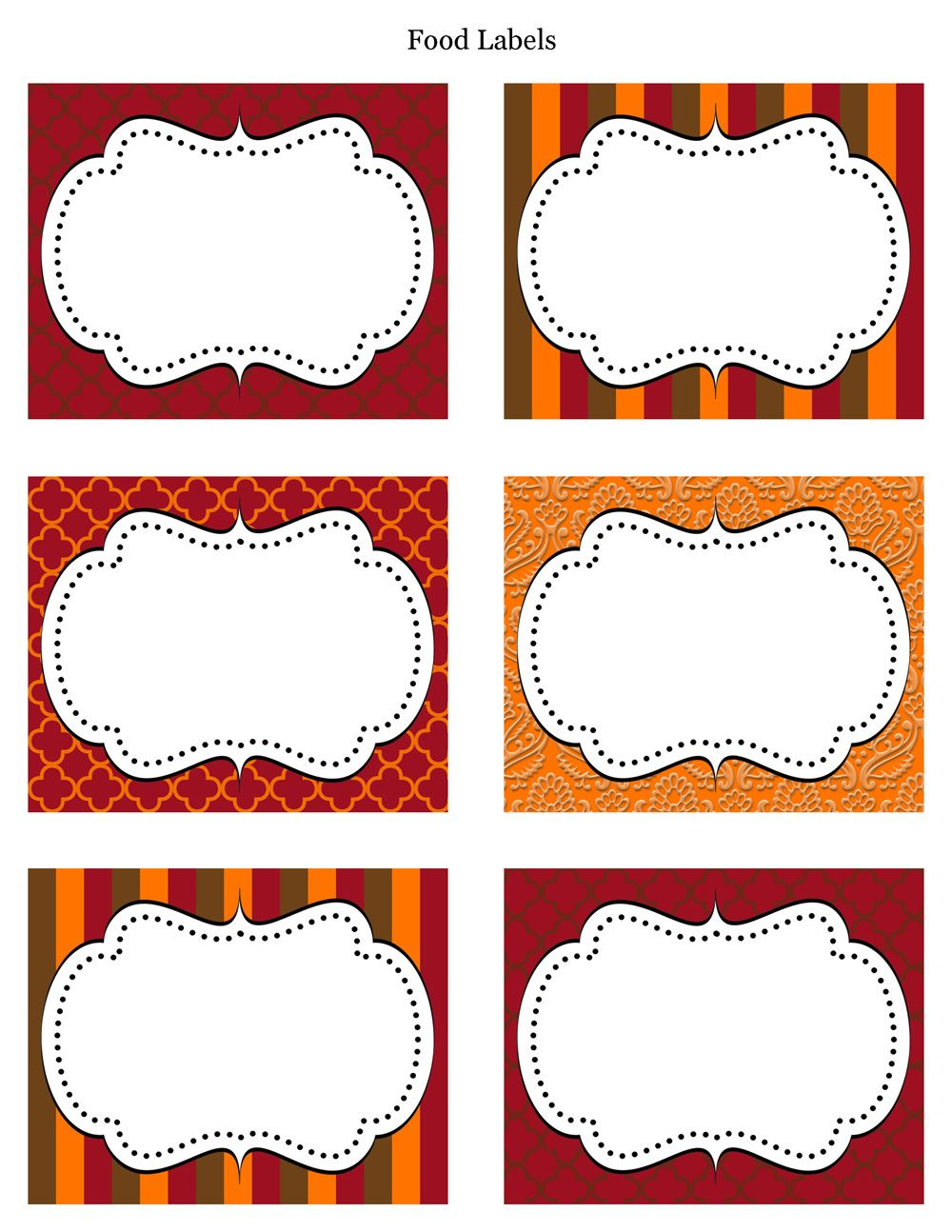 Free Printable Labels & Tags - For Food Buffet. Just Printed Them - Free Editable Printable Labels