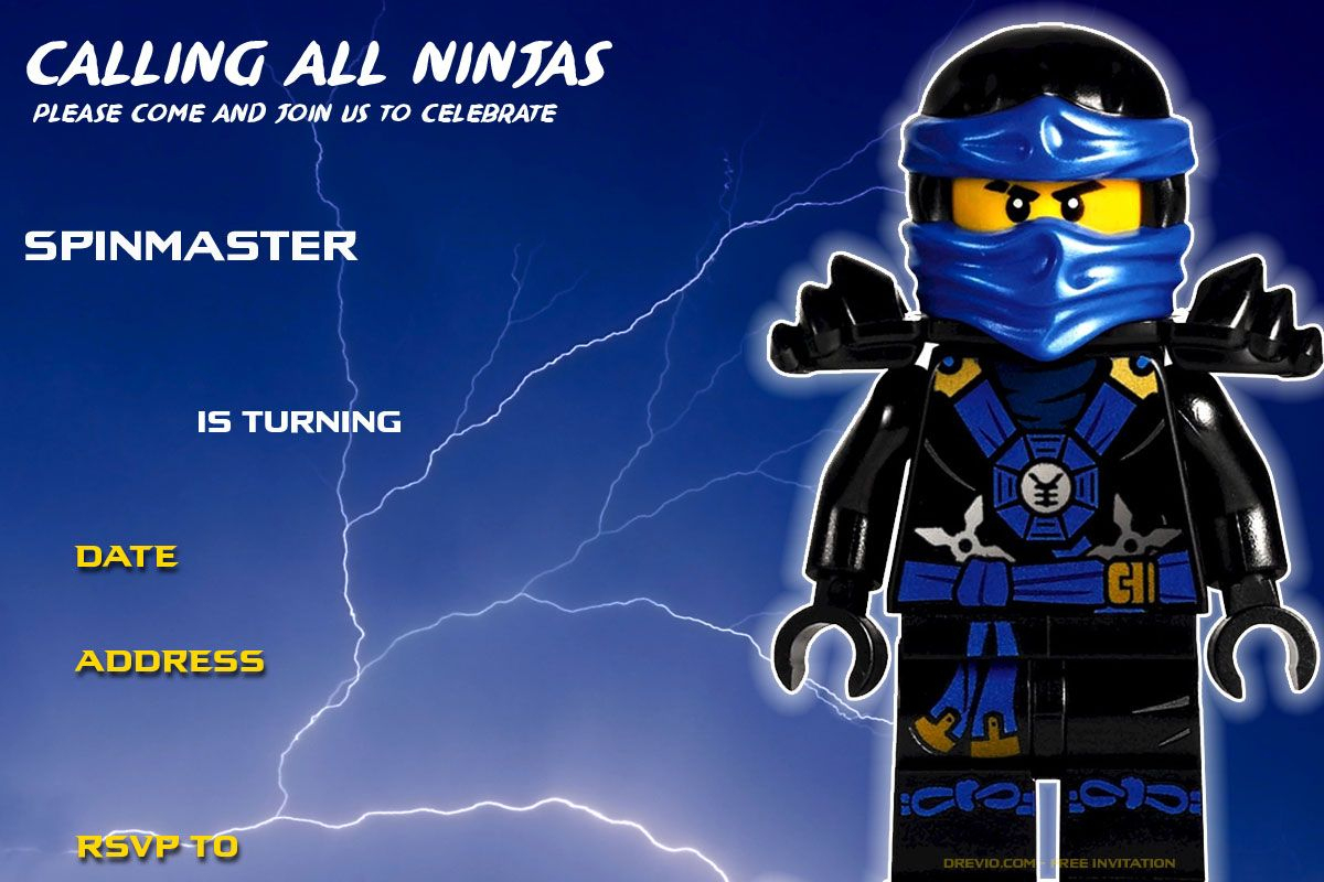Free-Printable-Lego-Ninjago-Jay-Walker-Birthday-Invitation - Lego Ninjago Party Invitations Printable Free