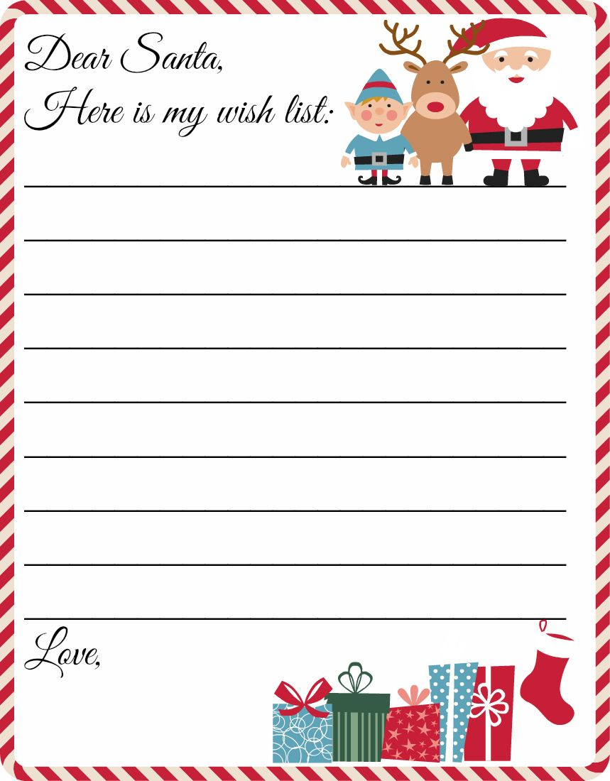 Free Printable Letter To Santa Template ~ Cute Christmas Wish List - Letter To Santa Template Free Printable
