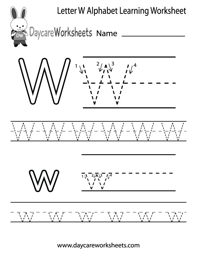 Free Printable Letter W Alphabet Learning Worksheet For Preschool - Free Printable Learning Pages