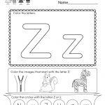 Free Printable Letter Z Coloring Worksheet For Kindergarten   Letter Z Worksheets Free Printable