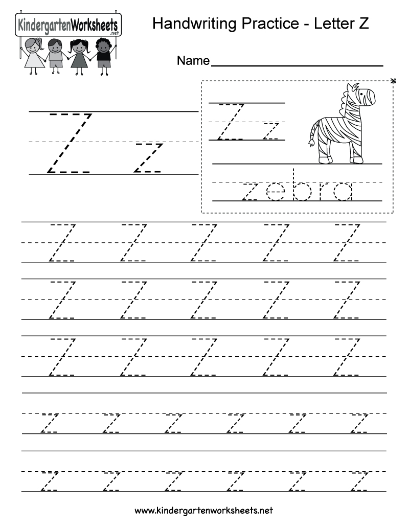 Free Printable Letter Z Writing Practice Worksheet For Kindergarten - Letter Z Worksheets Free Printable