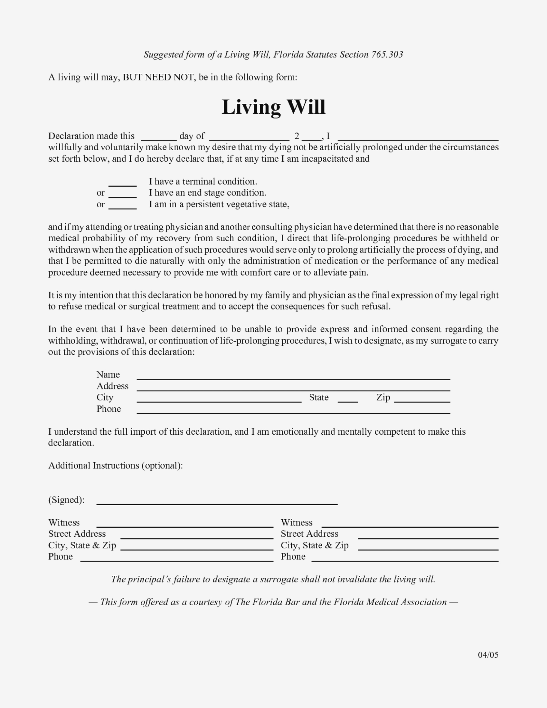 Free Printable Living Will Forms Florida 11 To Print Form .. – Form - Living Will Forms Free Printable