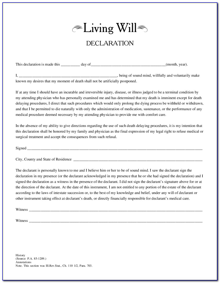 Free Printable Living Will Forms Illinois - Form : Resume Examples - Free Printable Living Will