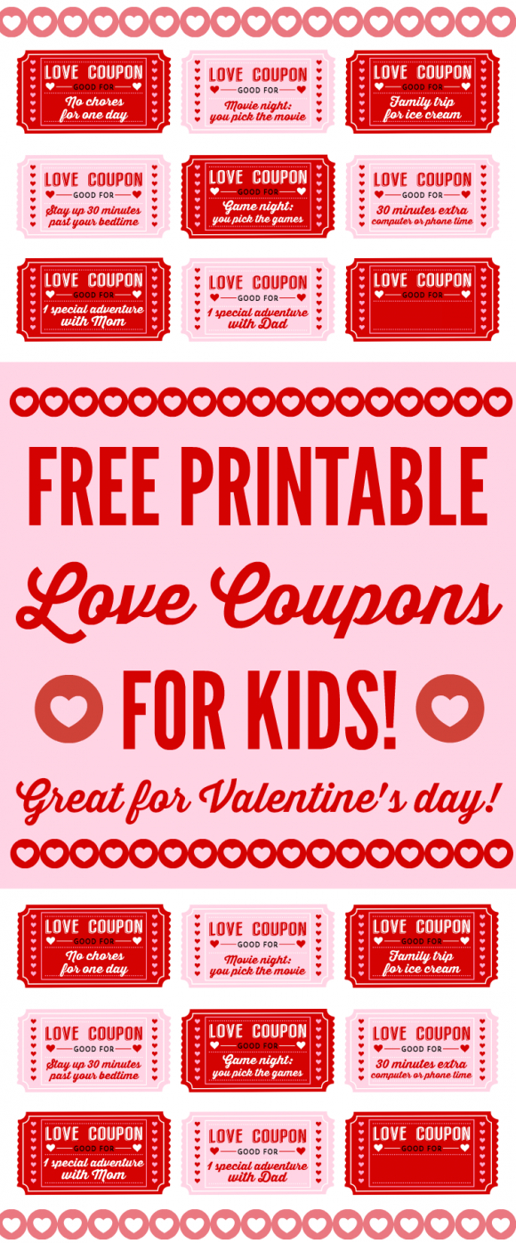 Free Printable Love Coupons For Kids On Valentine's Day - Free Printable Love Coupons