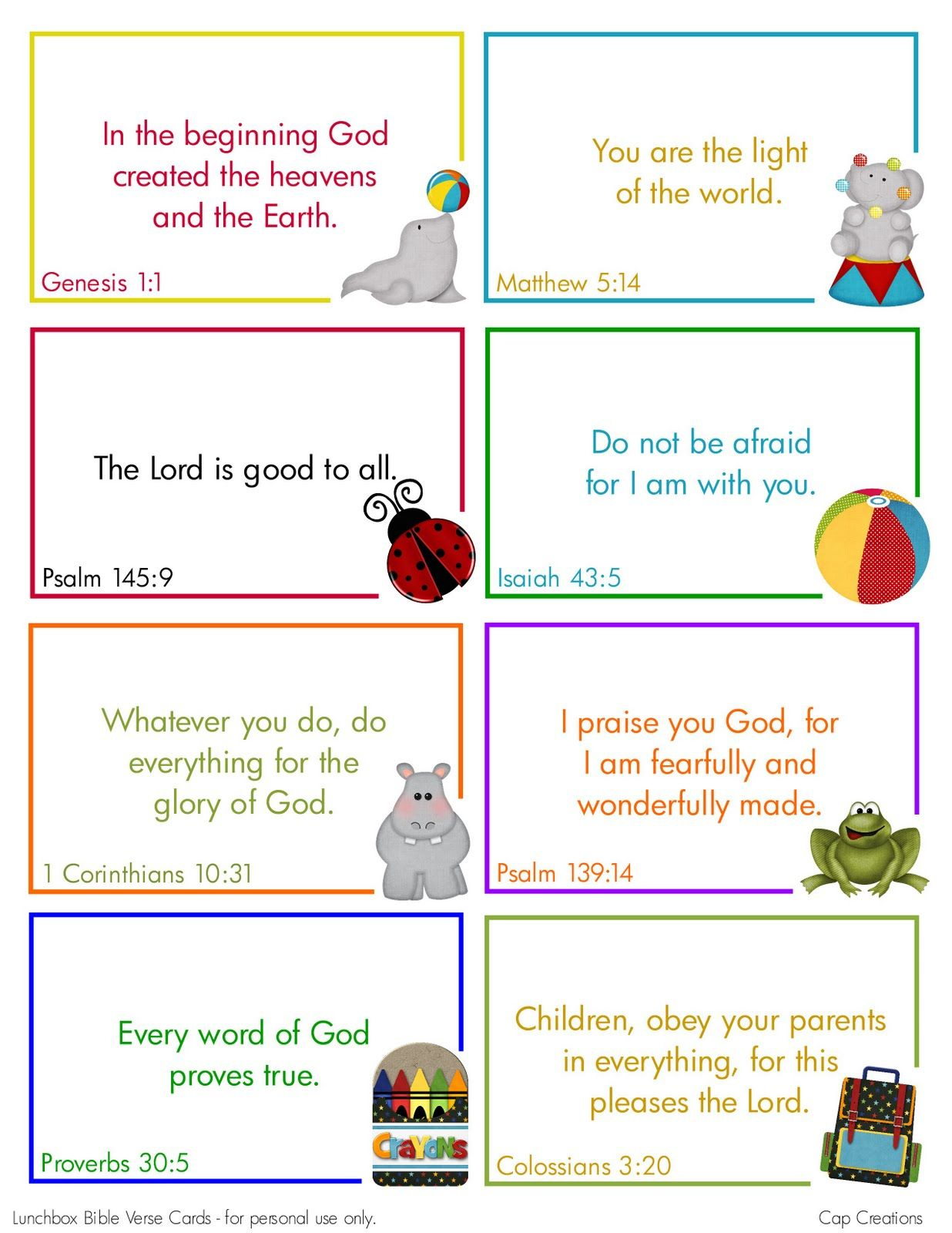 Free Printable Lunchbox Bible Verse Cards Cute.could Use These - Free Printable Bible Verses For Children