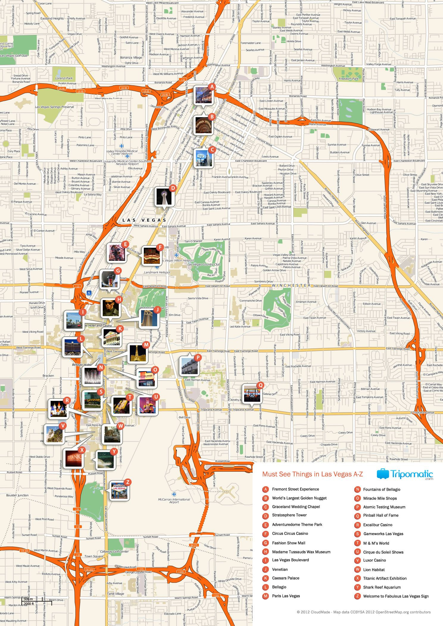 Free Printable Map Of Las Vegas Attractions. | Free Tourist Maps - Free Printable Las Vegas Coupons 2014