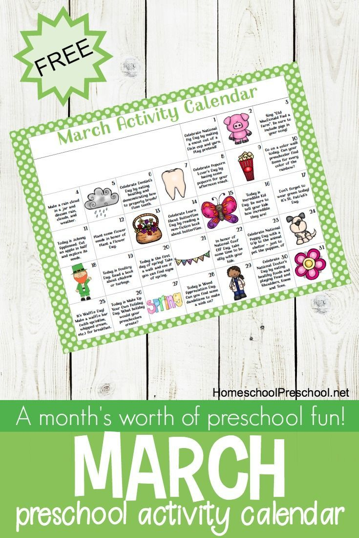 Free Printable March Activity Calendar For Preschoolers | Spring - Free Printable March Activities