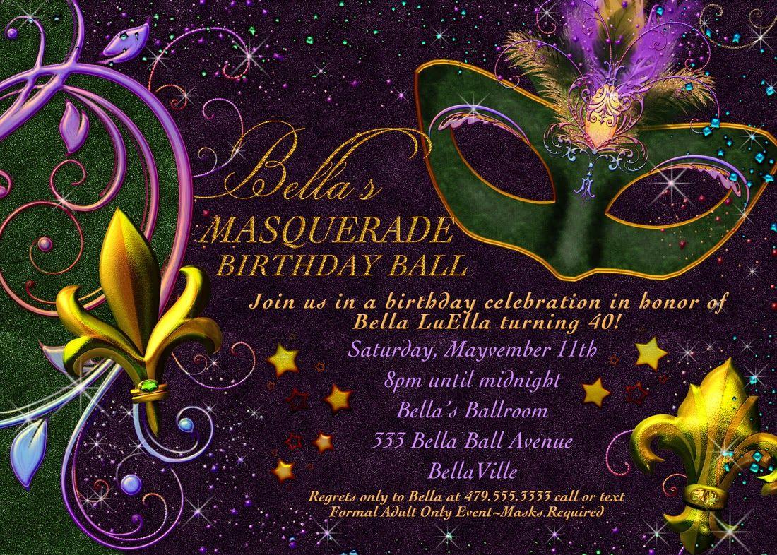 Free Printable Mardi Gras Invitation | Mia's Quince - Free Printable Mardi Gras Invitations