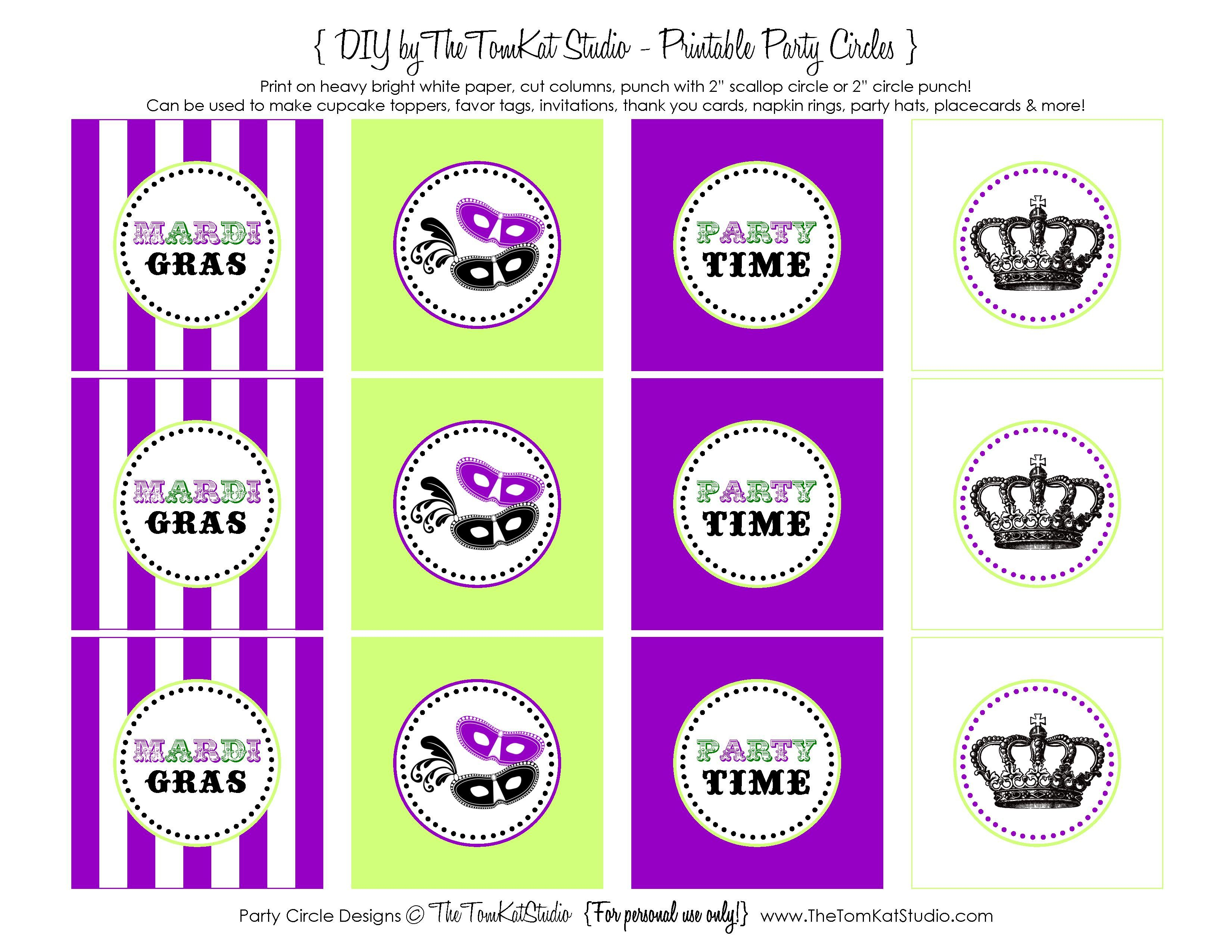 Free Printable} Mardi Gras Party Circles | Mardi Gras Party | Mardi - Free Printable Party Circles