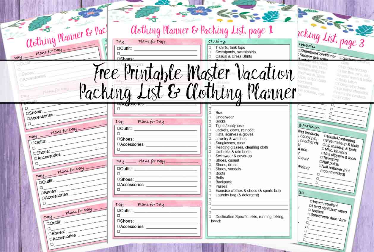 Free Printable Master Vacation Packing List & Clothing Planner - Free Printable Trip Planner