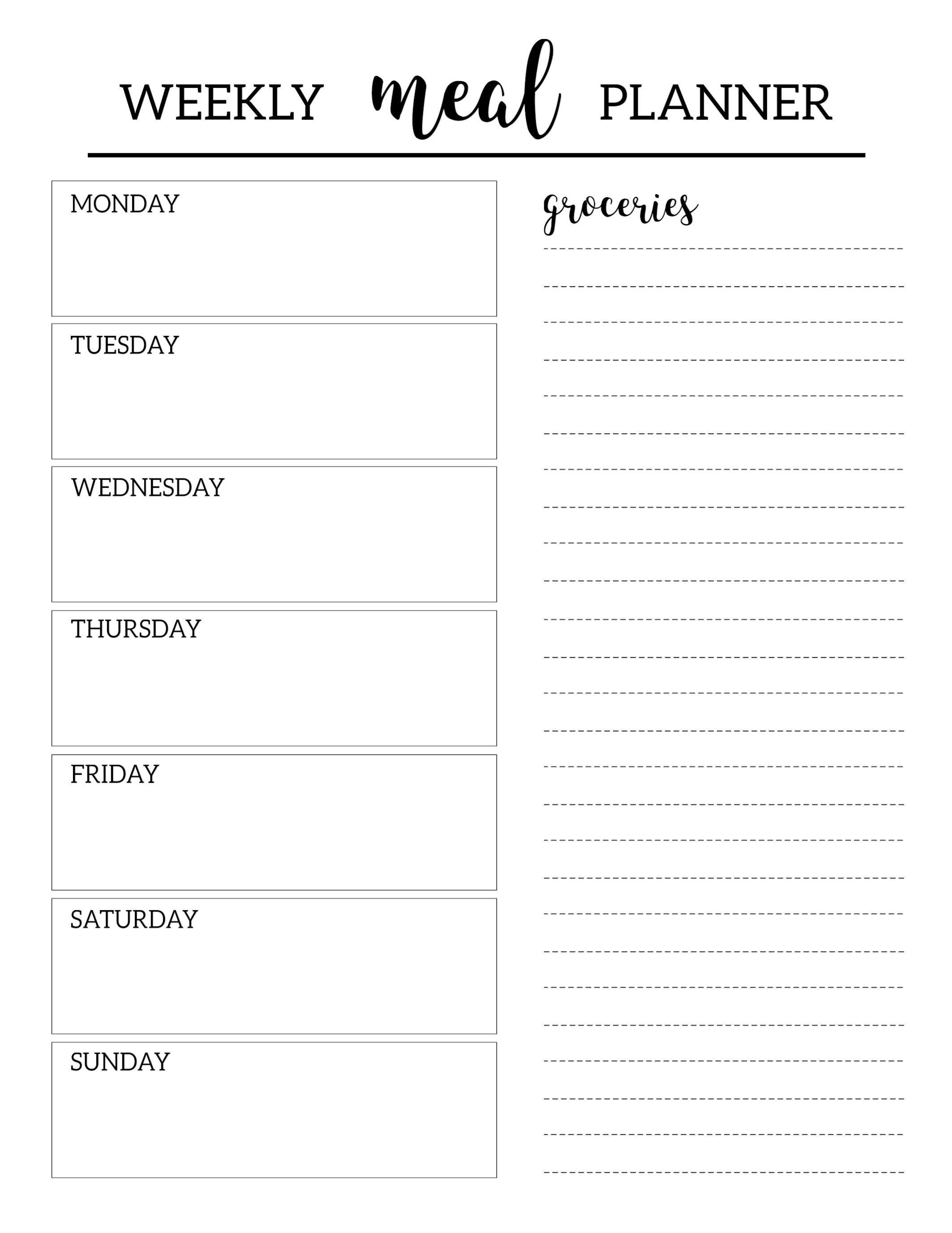 Free Printable Meal Planner Template | Organization | Pinterest - Free Printable Weekly Dinner Menu Planner