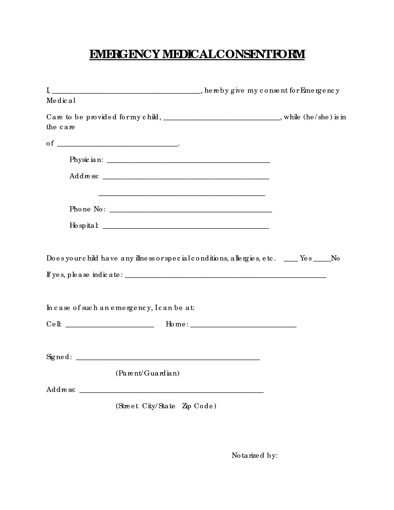 Free Printable Medical Consent Form | Emergency Medical Consent Form - Free Printable Medical Consent Form