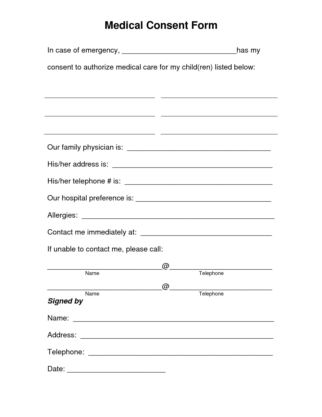 Free Printable Medical Consent Form | Free Medical Consent Form - Free Printable Parent Information Sheet