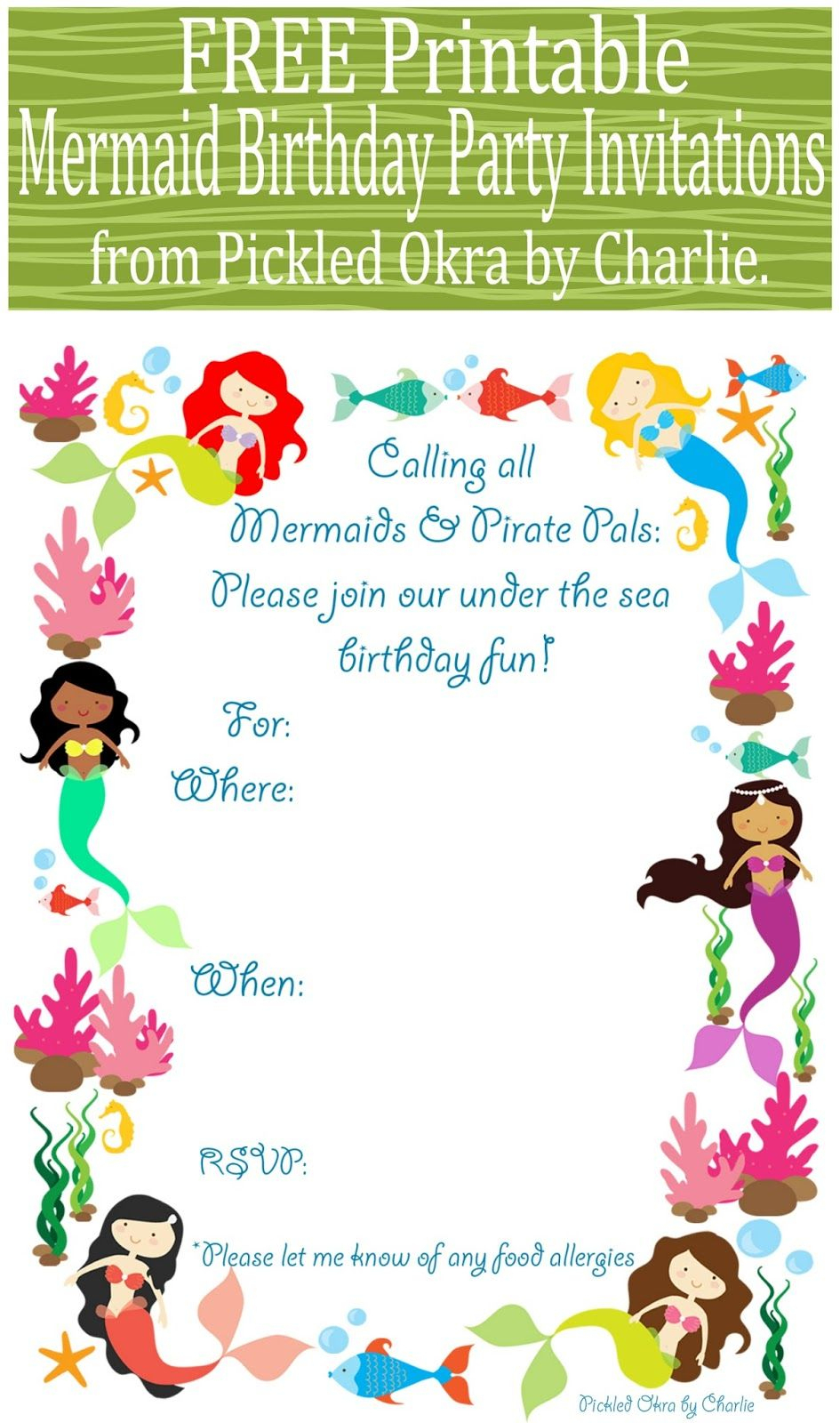 Free Printable Mermaid Birthday Party Invitations For Your Next - Free Printable Mermaid Thank You Cards