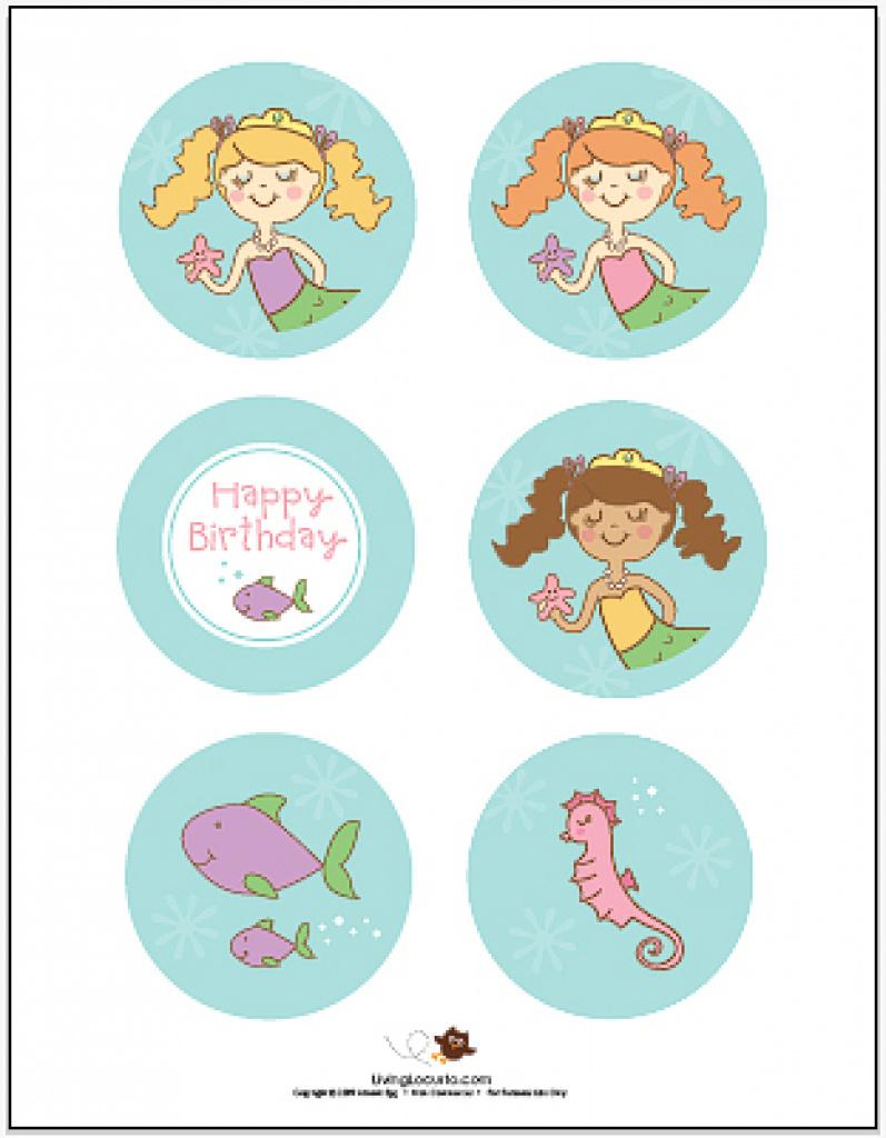 Free Printable Mermaid Cupcake Toppers | Free Printable - Free Printable Mermaid Cupcake Toppers
