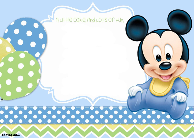 Free Printable Mickey Mouse 1St Birthday Invitations Template Drevio - Free Printable Mickey Mouse 1St Birthday Invitations