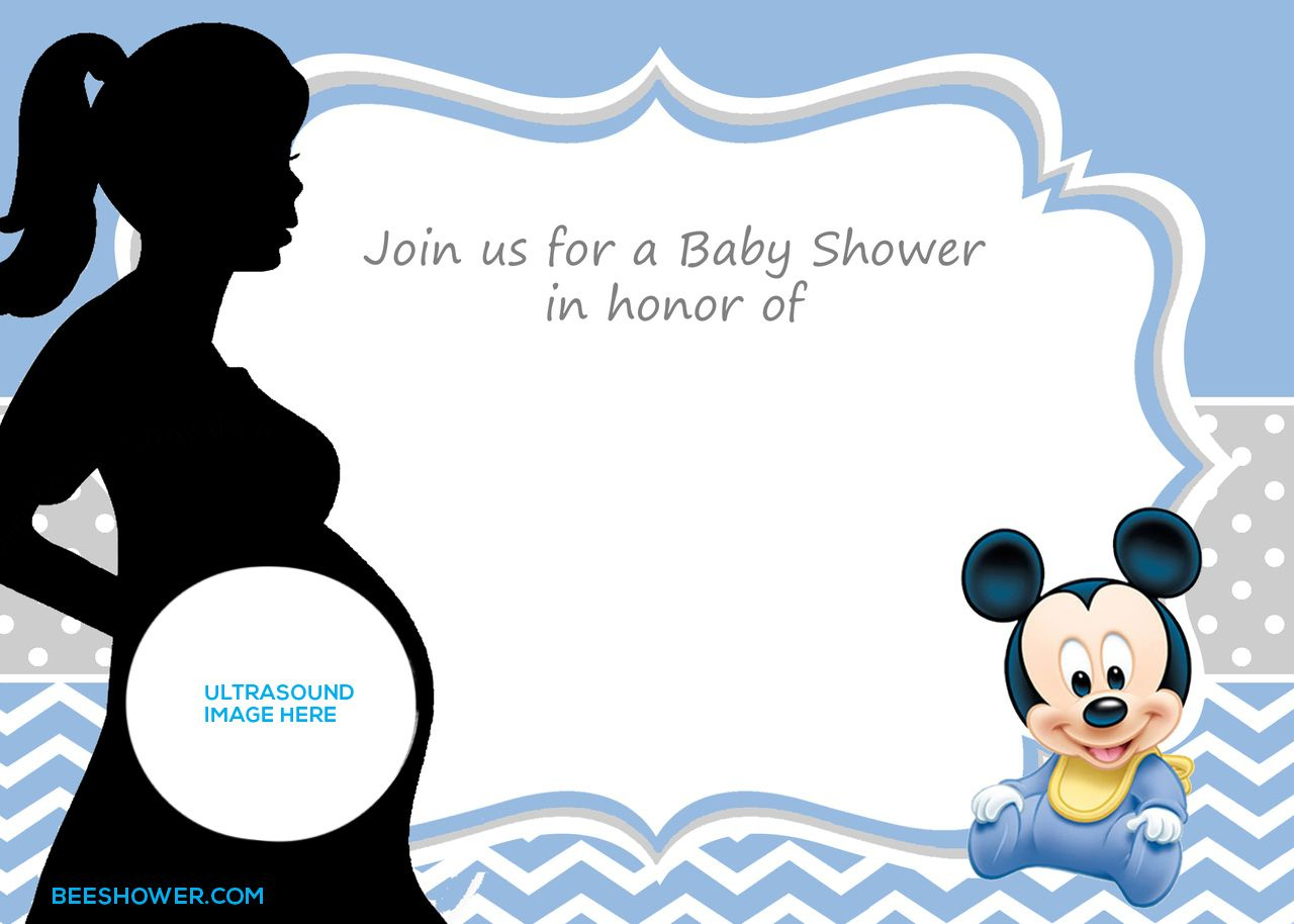 Free Printable Mickey Mouse Baby Shower Invitation Template | Baby - Free Printable Mickey Mouse Baby Shower Games