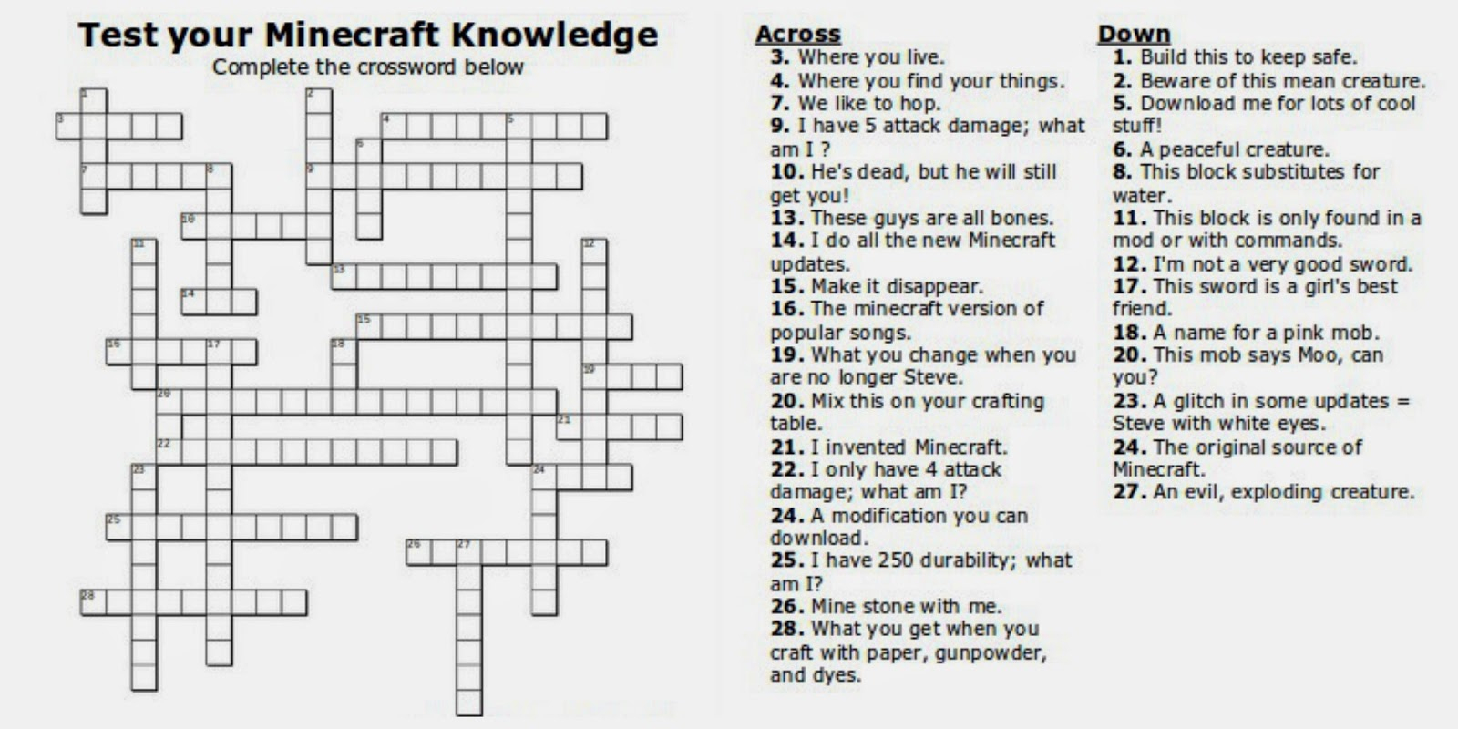 Free Printable Minecraft Crossword Search: Test Your Minecraft - Free Printable Minecraft Activity Pages