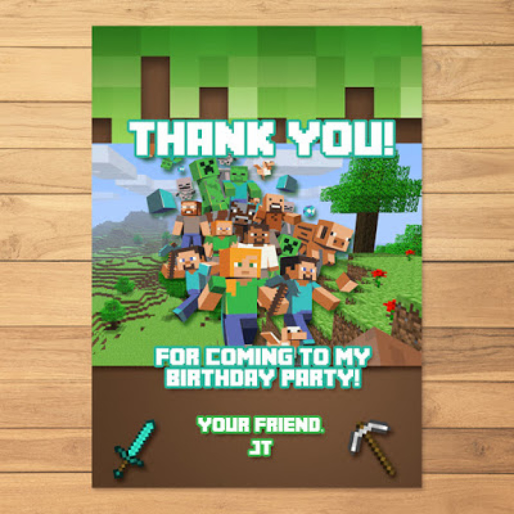 Free Printable Minecraft Thank You Notes - Description Of The Note - Free Printable Minecraft Thank You Notes