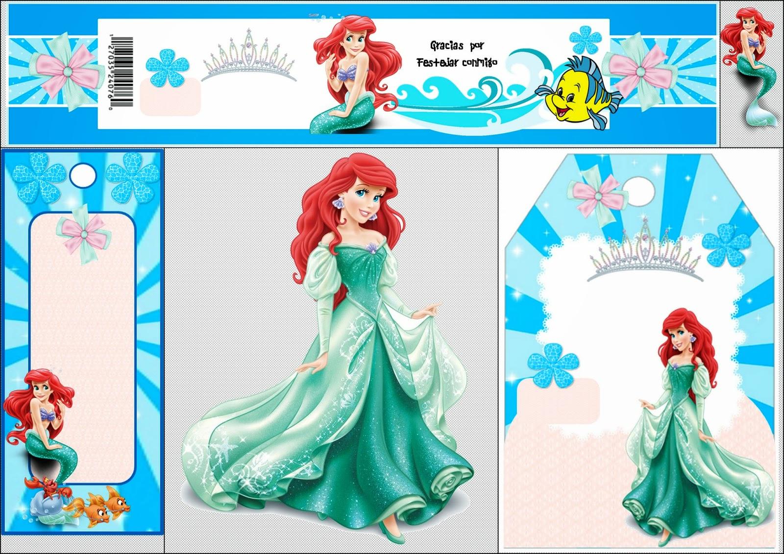 Free Printable Mini Kit For Your Little Mermaid Party. | Oh My - Free Printable Little Mermaid Water Bottle Labels