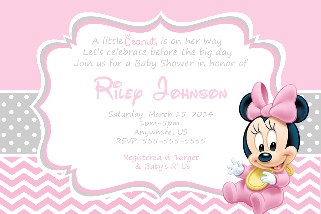 Free Printable Minnie Mouse Baby Shower Invitations - Kinderhooktap - Create Your Own Baby Shower Invitations Free Printable