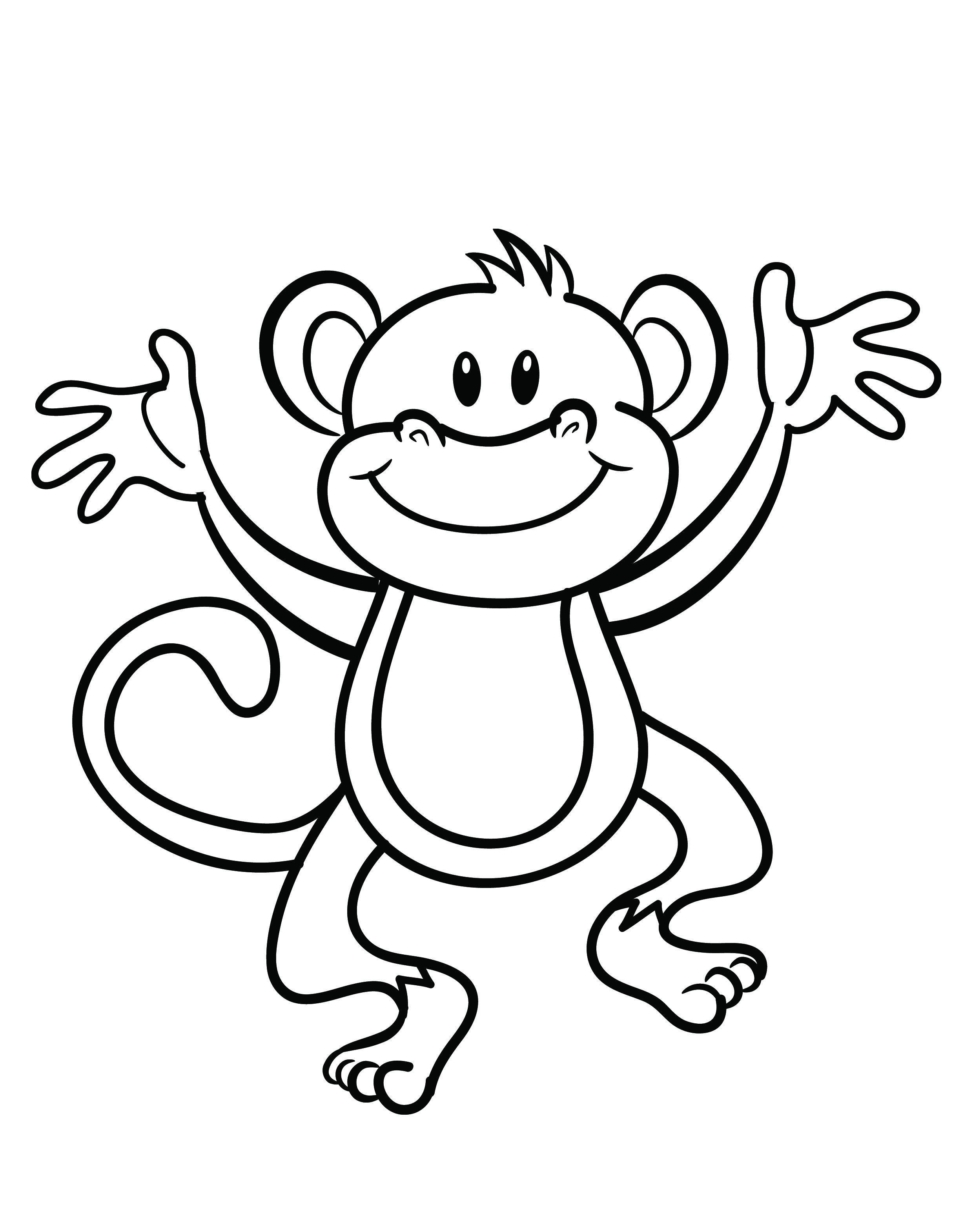Free Printable Monkey Coloring Page | Cj 1St Birthday | Pinterest - Free Printable Monkey Coloring Pages