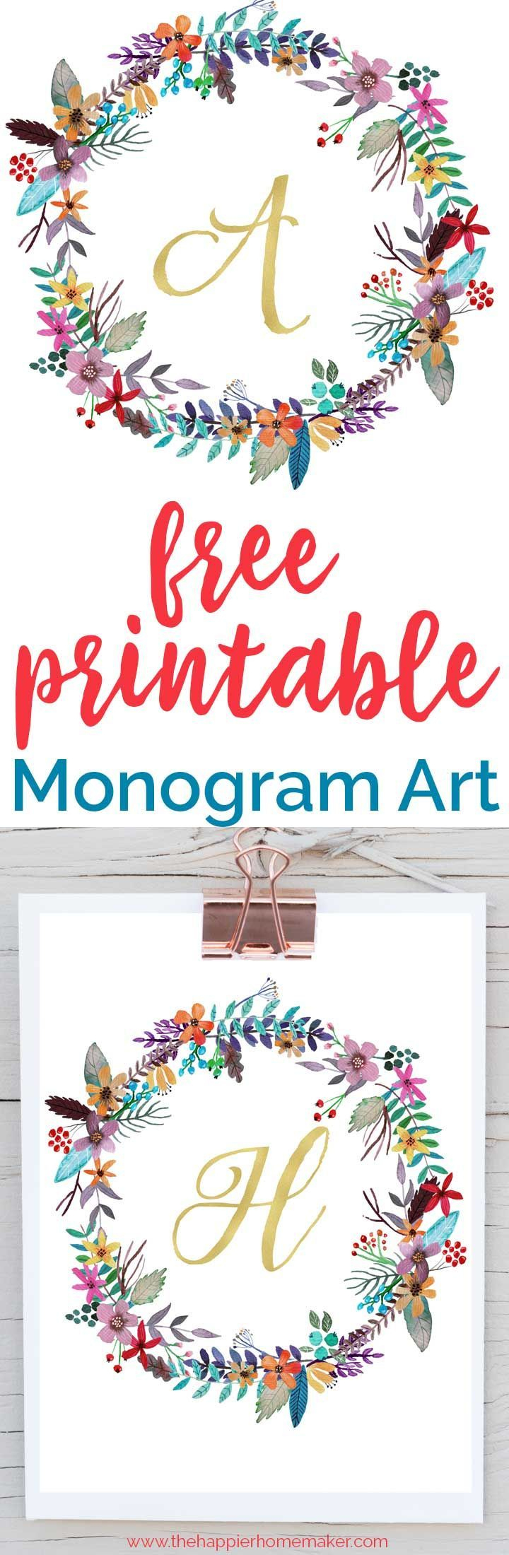Free Printable Monogram Art | Free Printables | Pinterest | Free - Free Printable Monogram