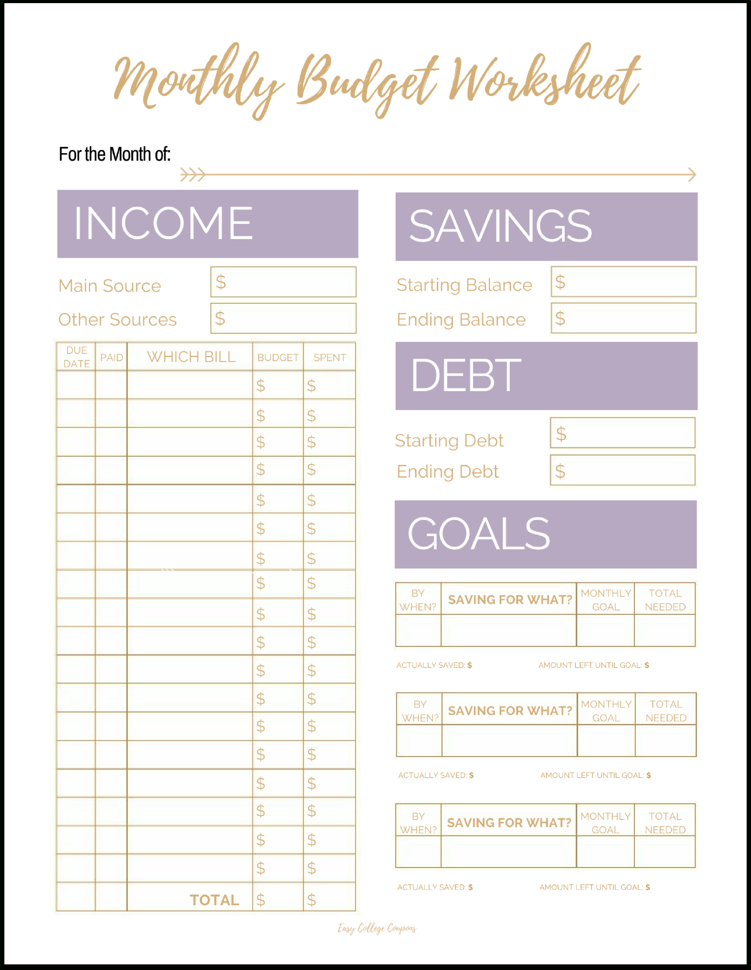 Free Printable Monthly Budget Template - Free Budget Printable Template