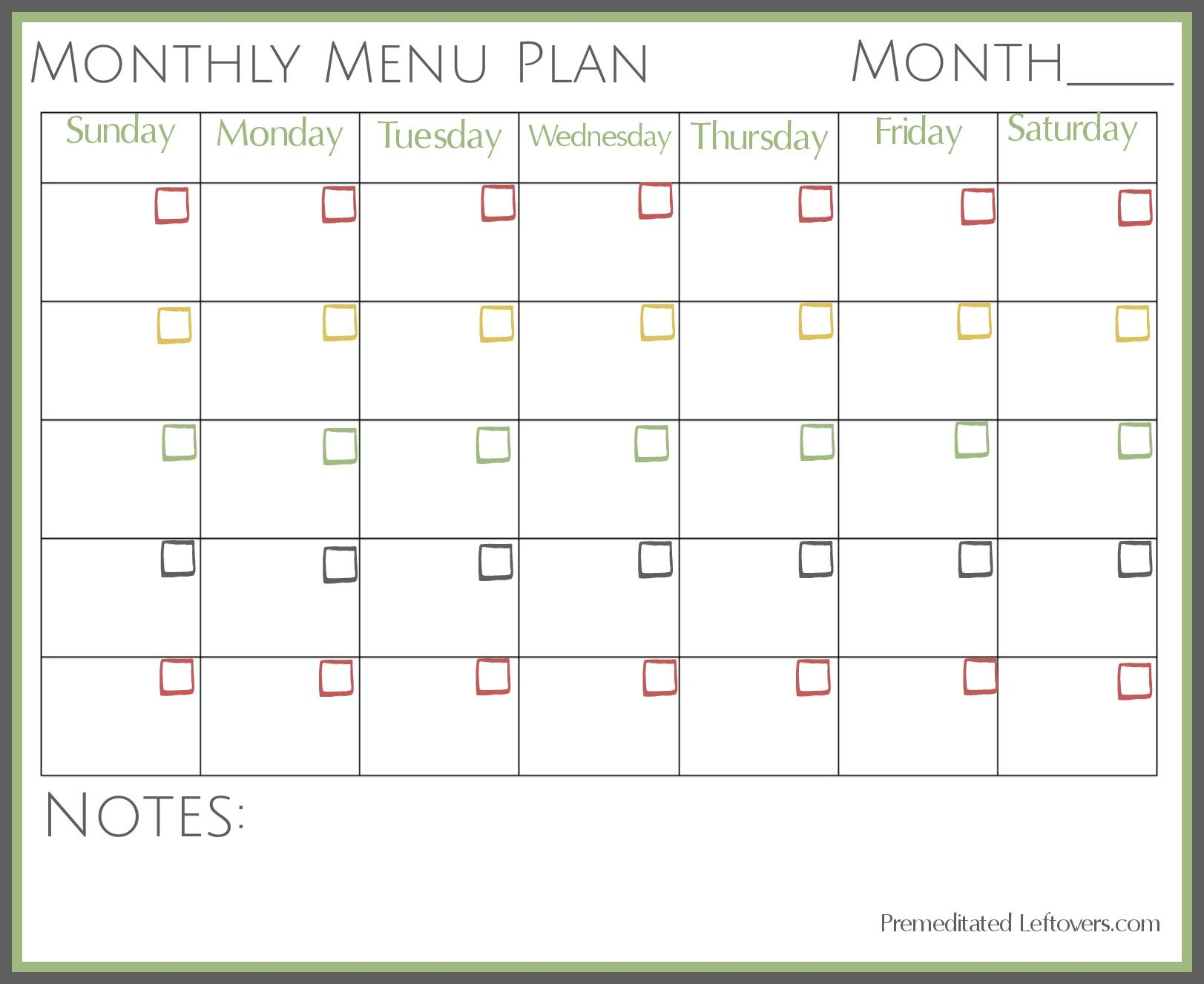 Free Printable Monthly Menu Plan | Printable Forms, Etc. | Pinterest - Free Printable Monthly Meal Planner