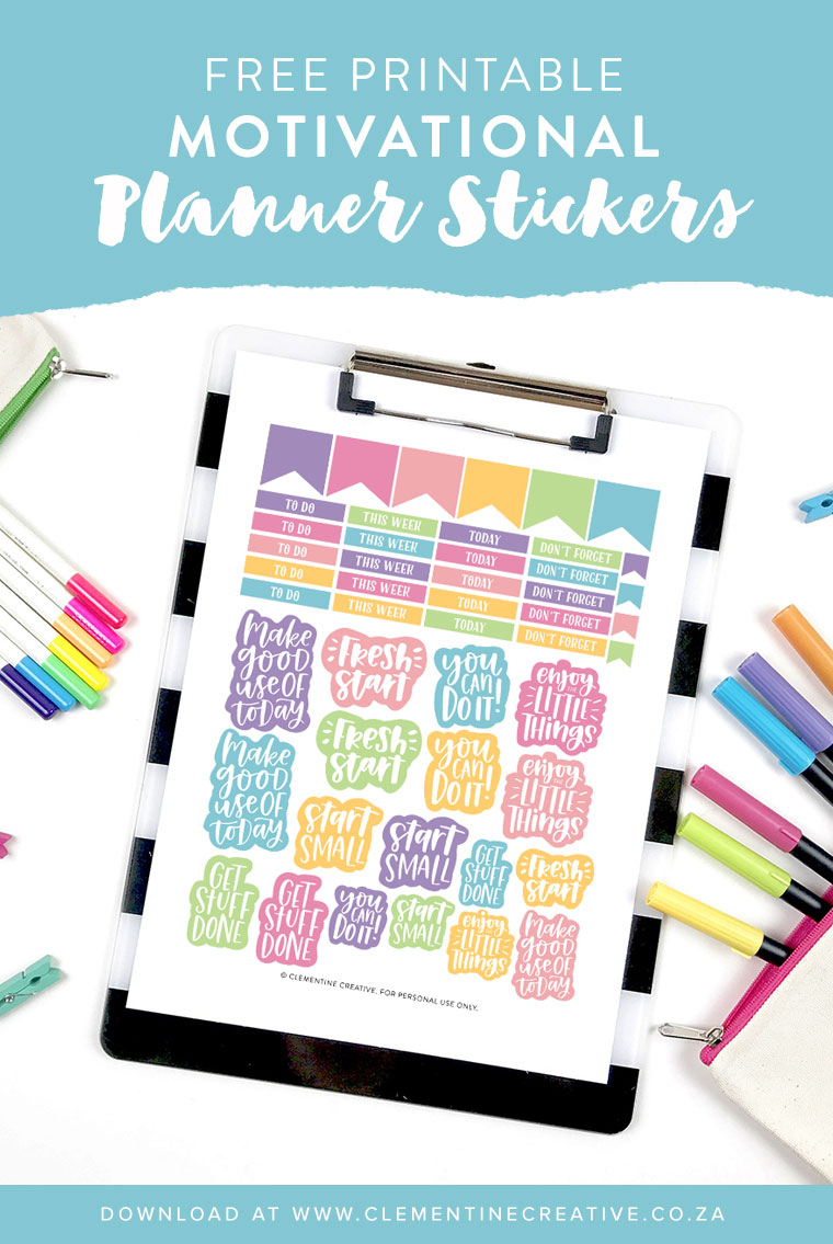 Free Printable Motivational Planner Stickers - Free Printable Planner Stickers