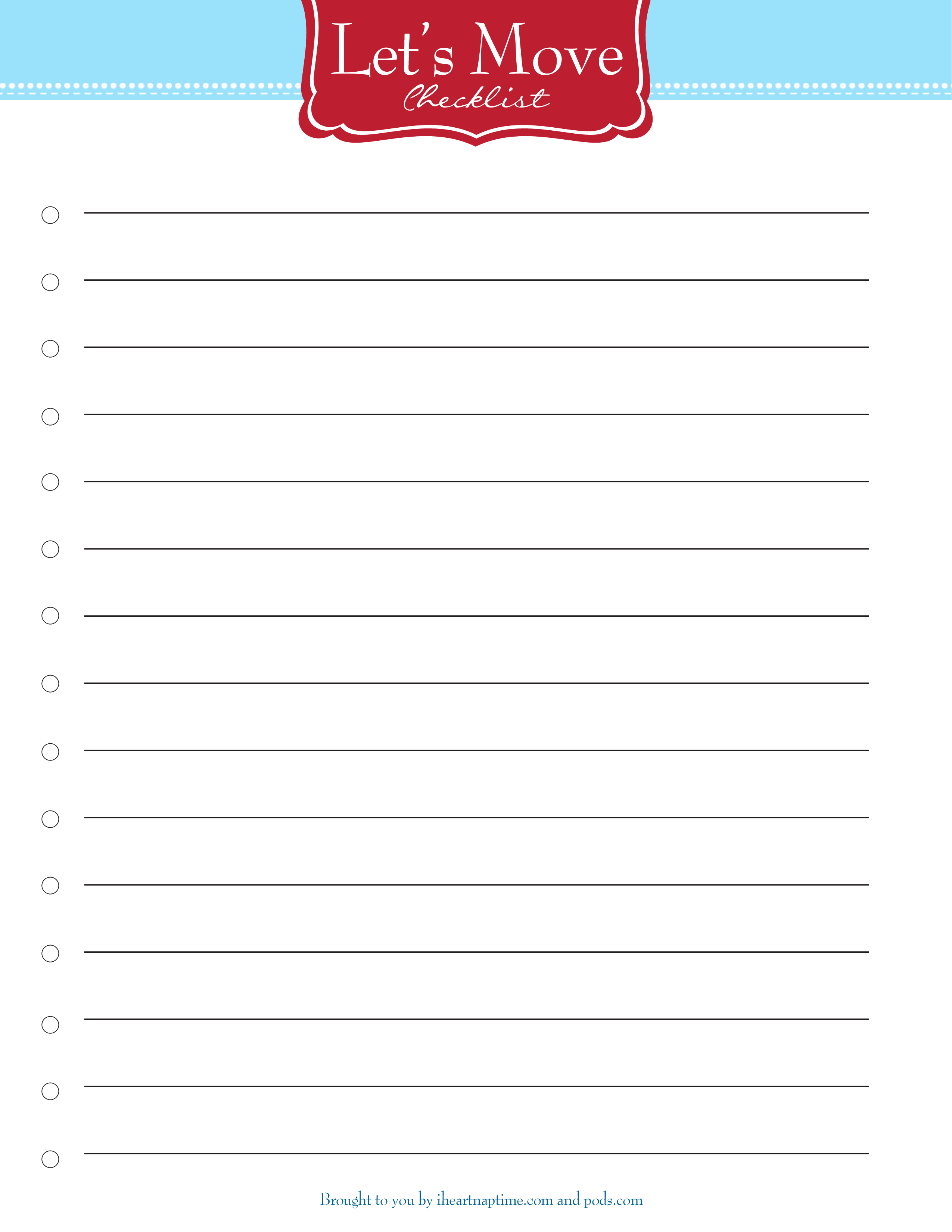 Free Printable Moving Checklist - I Heart Nap Time - Free Printable Checklist